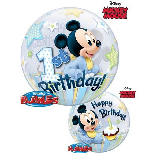 "Mickey Mouse 1st Birthday 22"" Bubble Balloon (each)"